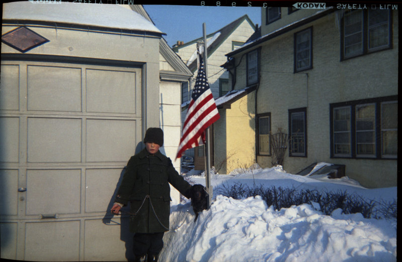 January 1961, Richard, his dog, and new 50-star U.S. Flag from 127 roll film (111)