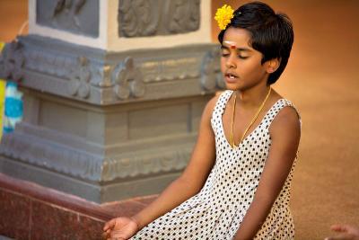 Girl meditating - Singapore