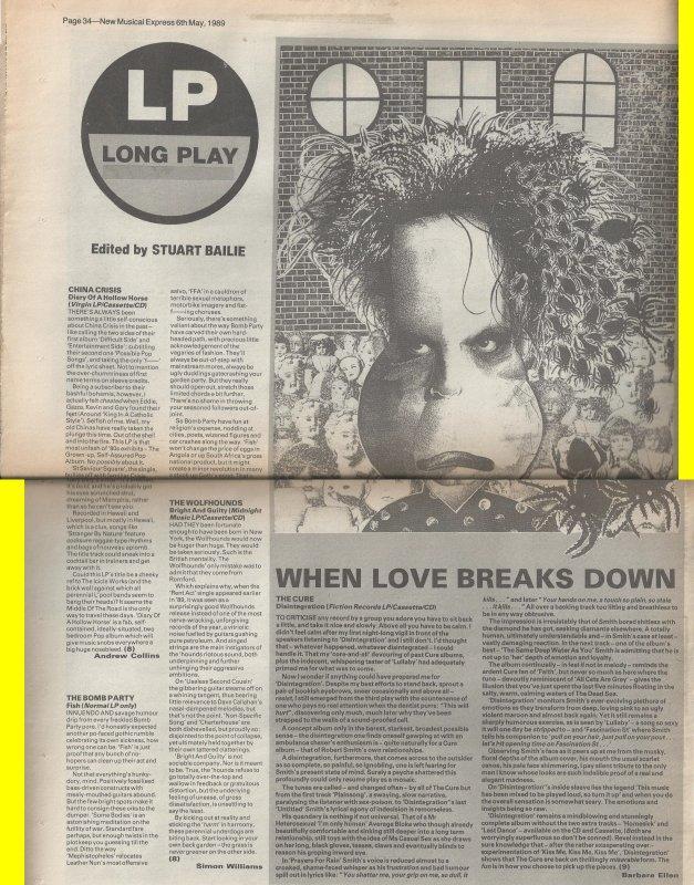 1989 - Disintegration NME Review.jpg
