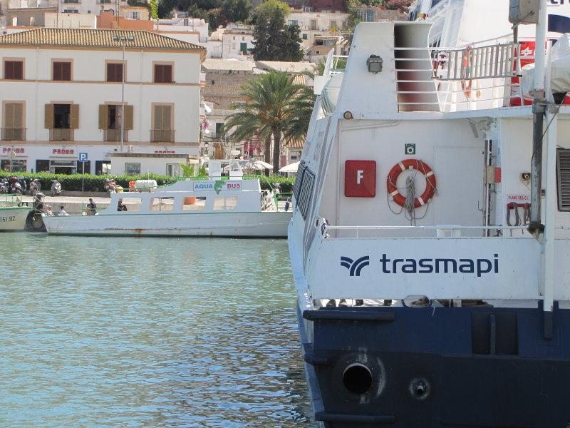 Aqua-Bus ferry dwarfed by Trasmapis Formentera Jet - September 2011