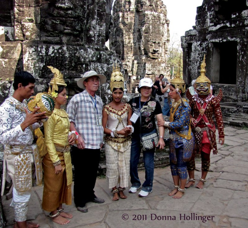 Chinese Tourists with Angkorian Performers