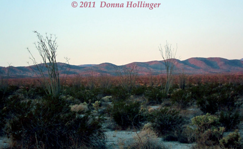 Hills look red in predawn light