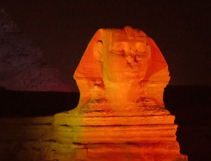 The Sphinx Lit Up At Night