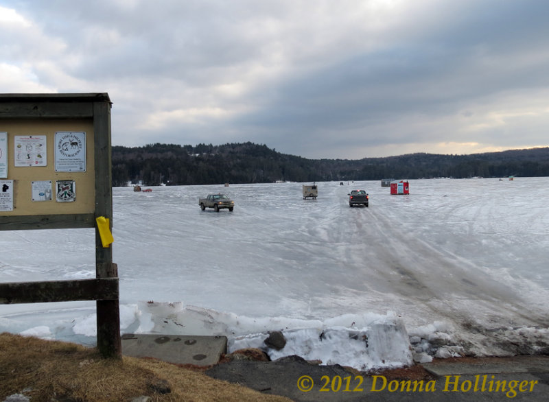 Trucks out on the Ice at  Lake Fairlee