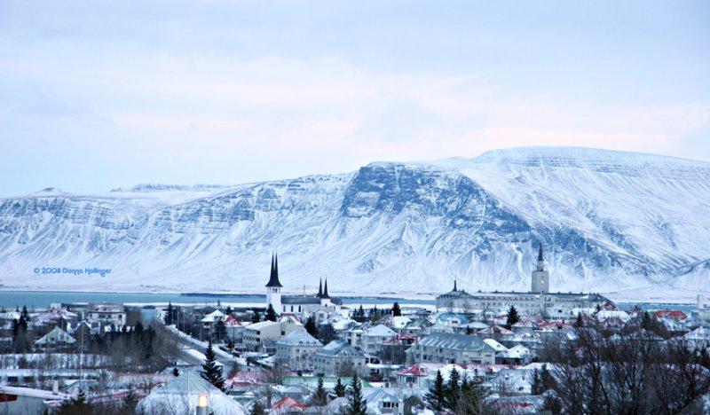 View of Reykjavik, looking towards the harbor