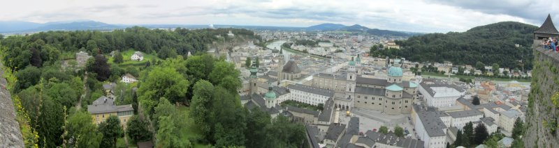 panorama: from the Festung Hohensalzburg toward the Altstadt