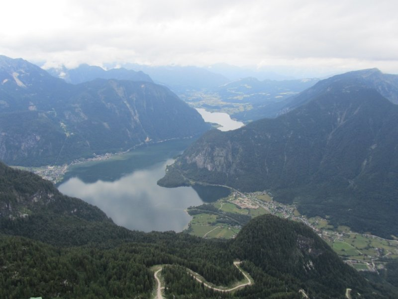 the village of Hallstatt is visible to the left