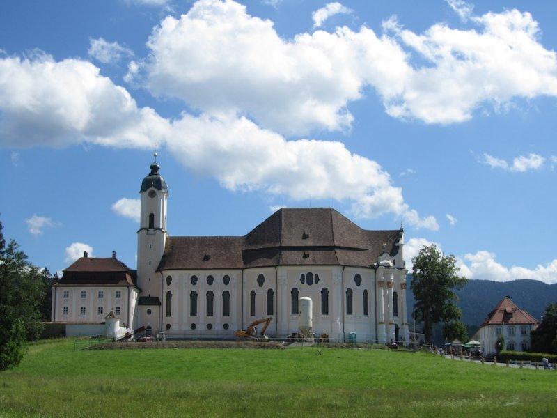 at the Wieskirche near Oberammergau, in a very green setting