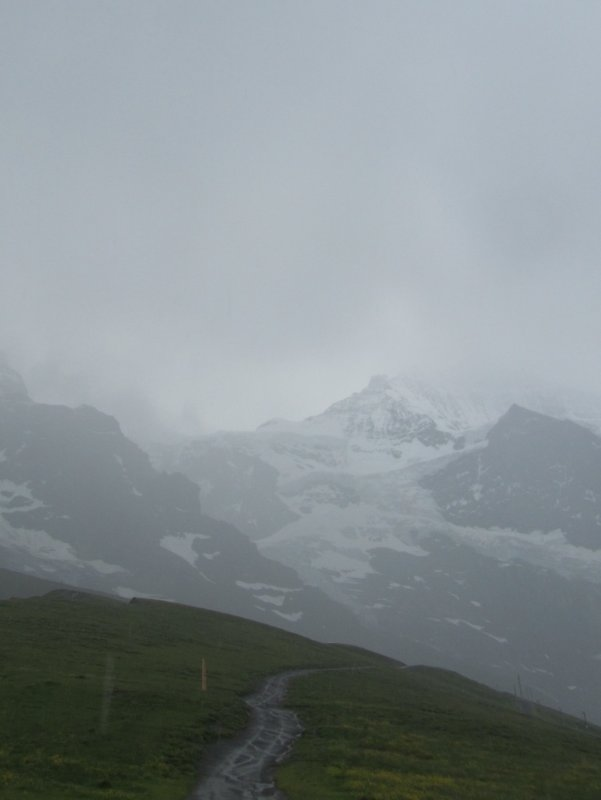 at Kleine Scheidegg, the mountains are only occasionally visible