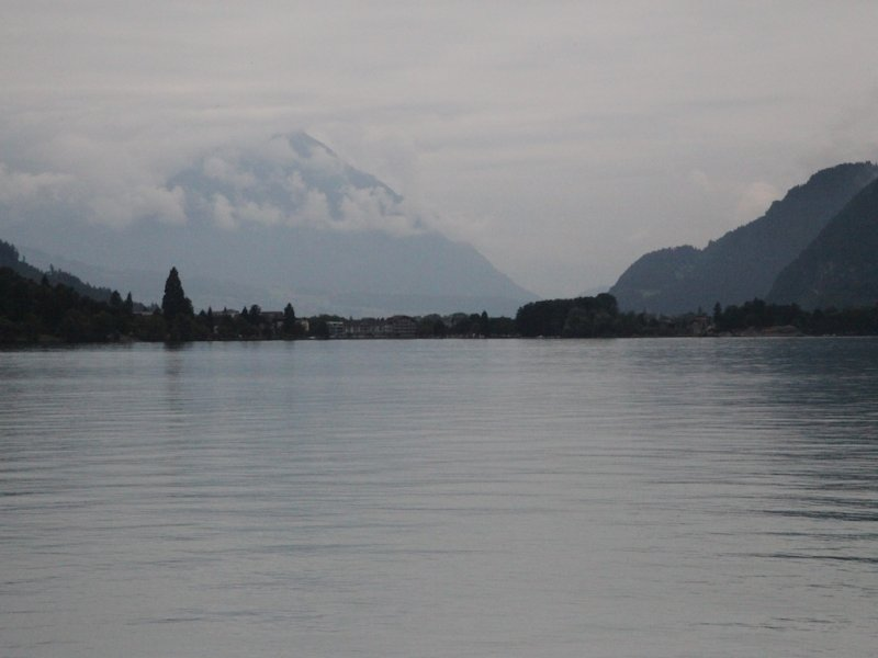back in the car, rounding the lake and looking toward Interlaken