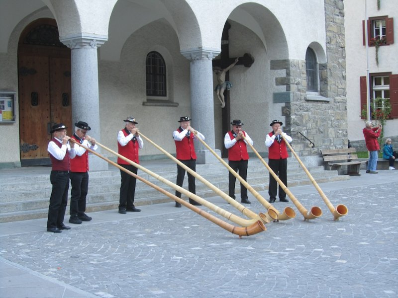back in town, an alphorn concert seems a fitting end to our stay in Zermatt