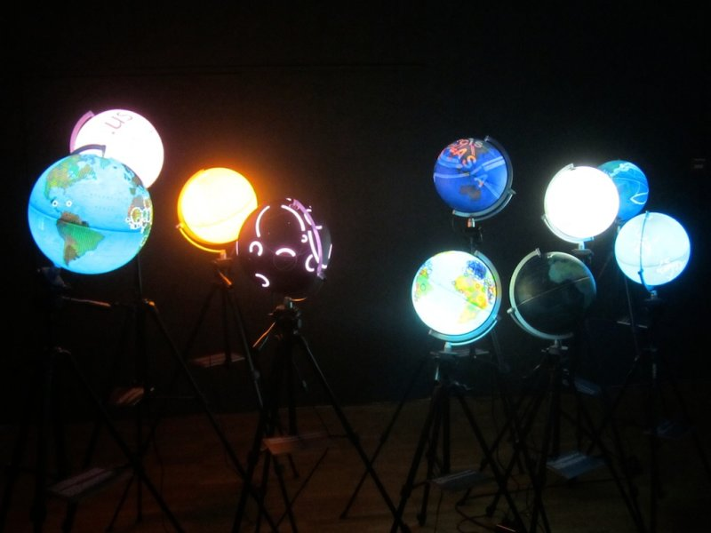 each globe represents a different mapping of international networks