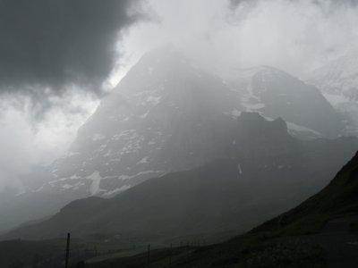 Eiger is almost hidden by mist