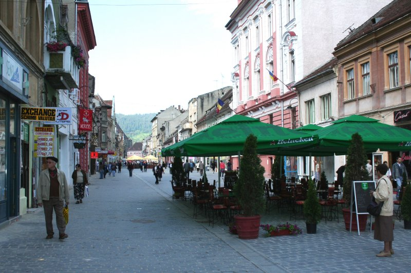 Pedestrian shopping street leading towards Council Square.