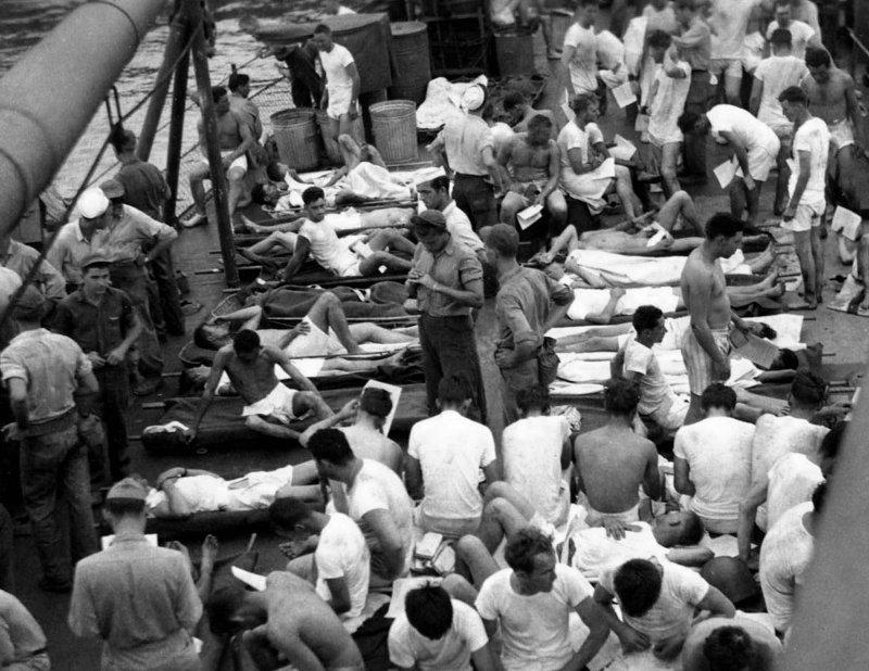 USS Indianapolis - Survivors on deck of the USS Bassett   8-5x11 (4)