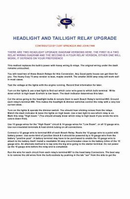 HEADLIGHT & TAILLIGHT RELAY UPGRADE  PAGE 1