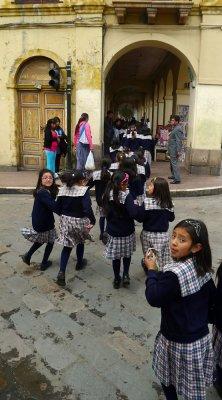 Schoolchildren on parade, Cuenca, Ecuador, 2011