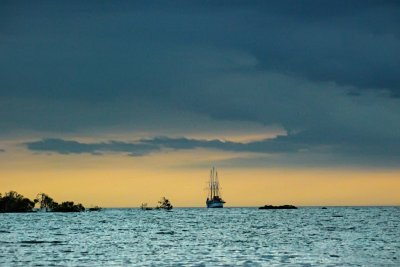 Tall ship off Elizabeth Bay, Isabela Island, The Galapagos, Ecuador, 2012