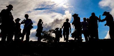 Tourists landing on Punta Moreno, Isabela Island, The Galapagos, Ecuador, 2012