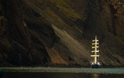 Tall ship at Punta Vincente Roca, Isabela Island, The Galapagos, Ecuador, 2012