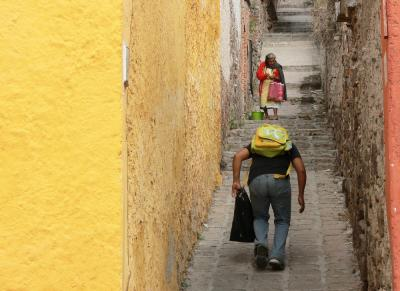 Alley Encounter, San Miguel de Allende, Mexico, 2005