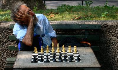 Asleep at the board, Washington Square Park, Greenwich Village, New York City, 2006
