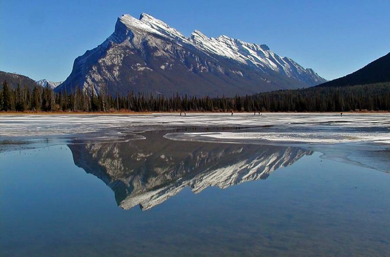 Ice skating on the Vermilion Lakes under Mount Rundle