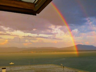 Rainbow and heavy rain....