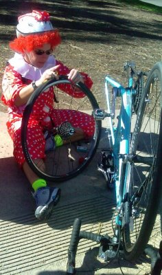 Our Clown fixing her flat! October 31 2009