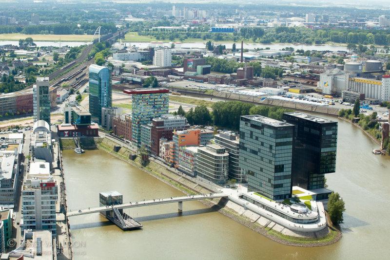 Birds eye view of Düsseldorf-Hafen