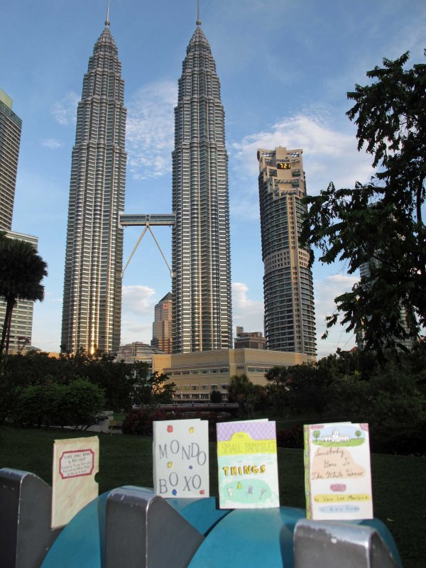 Three Small Books visit the Petronas Towers in October of 2011