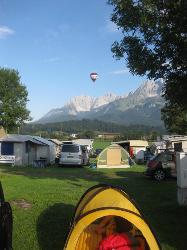 St Johann campsite with hot air balloon