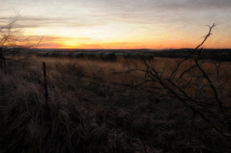 Hay Bales at Sunrise