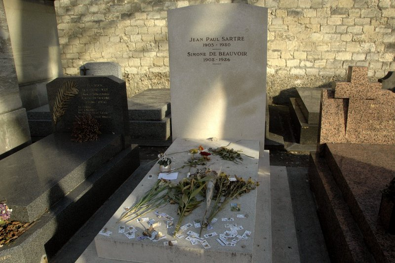 The grave of Jean Paul Sartre and Simone De Beauvoir in the Montparnasse Cemetery