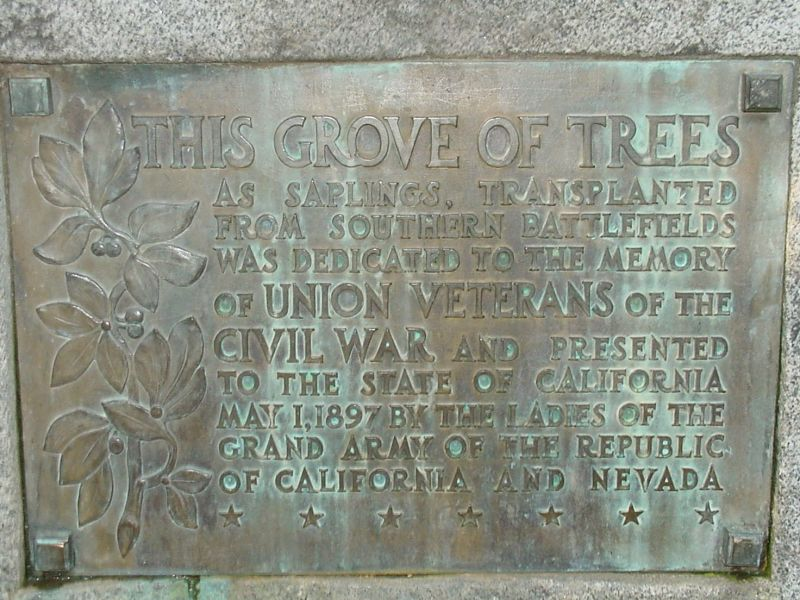 Plaque states that the Grove of Trees was planted in honor of Union veterans in 1897 using saplings from a southern battlefield.