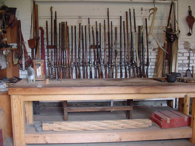 The Gunsmith Shop where weapons are repaired and stored.