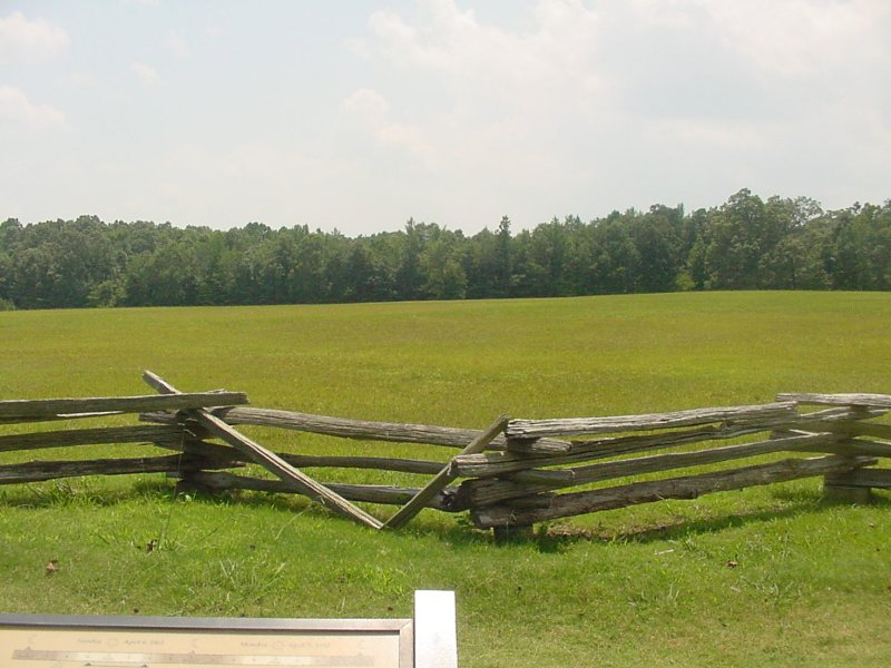 From a Union soldiers perspective - The Confederate soldiers would be across this large field by the foliage in the background.