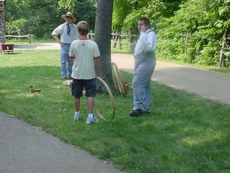 It was nice seeing young people in period costumes explaining games to other young people.