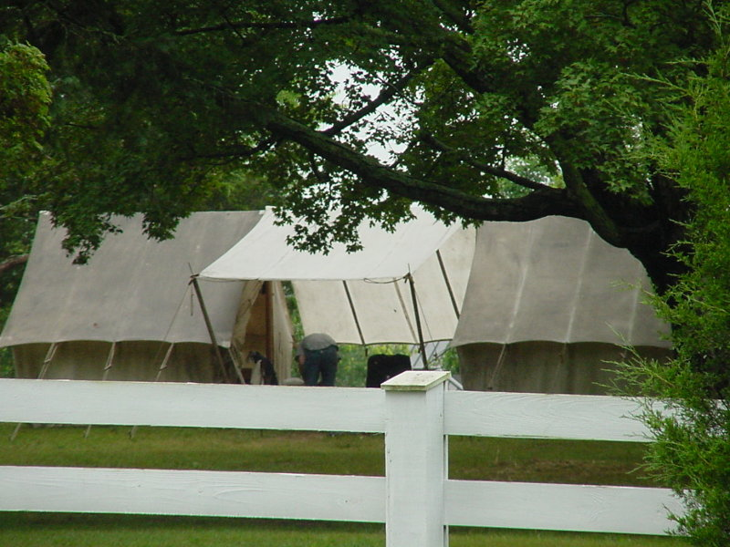 On July 4th weekend, there had been a re-enactment on the site.  When I arrived the morning of July 5th, one tent remained.