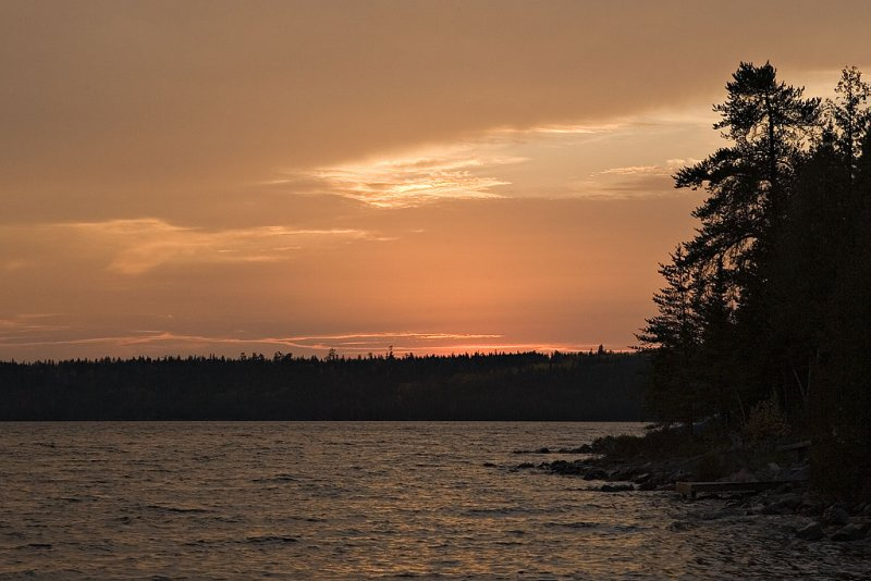 Cloudy sunset on Raven Lake