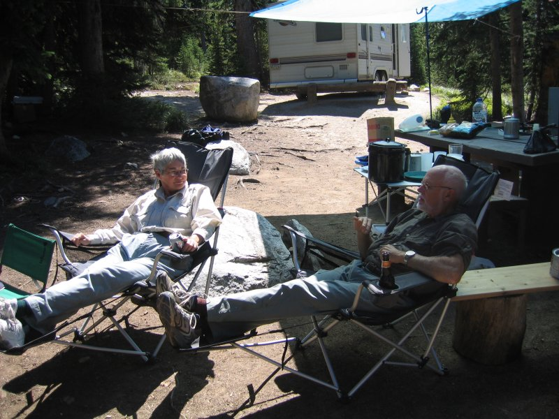 Relaxing in camp