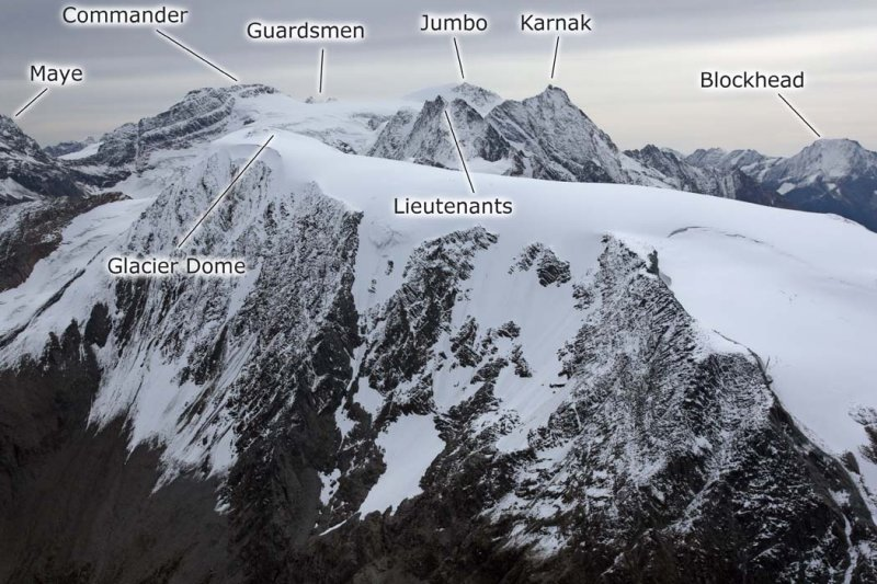 Glacier Dome & The Commander Group, View SE <br> (FarnhamGp090808-_296adjL.jpg)