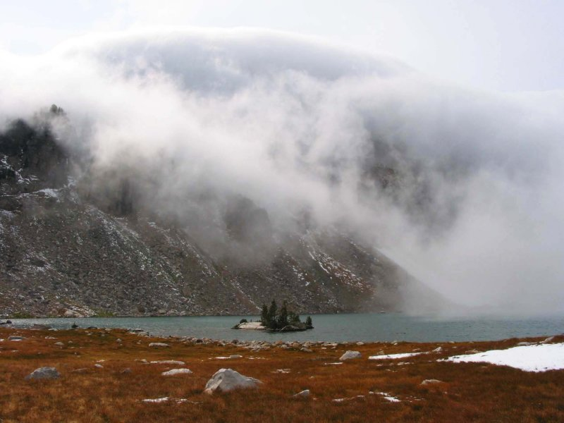Lake Solitude was clouding in