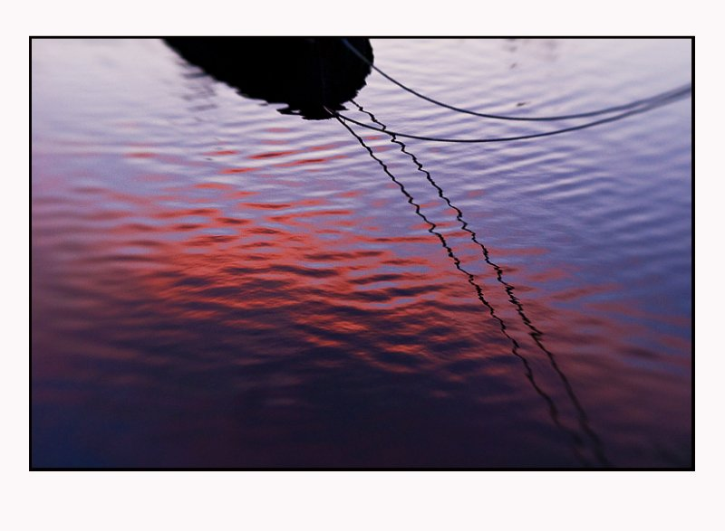 Red evening cloud reflected