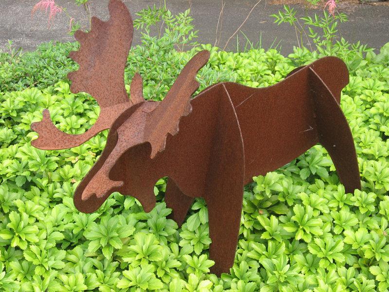 A moose in the garden
