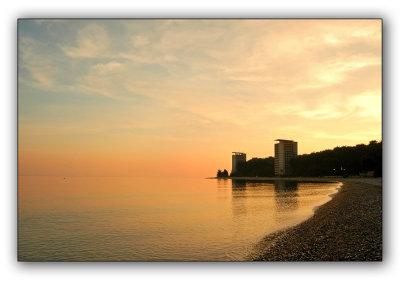 Abkhazia, Pitsunda, late autumn, empty beach