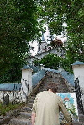 Russia, Pskov region, old Svyatogorsky Monastery where the poet Pushkin is buried