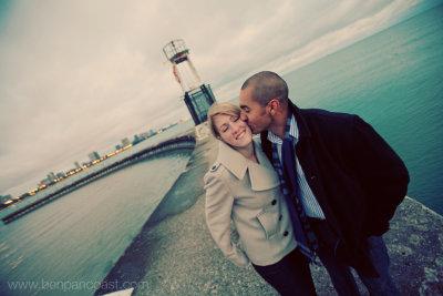 Engagement photos at North Avenue Beach at Sunrise