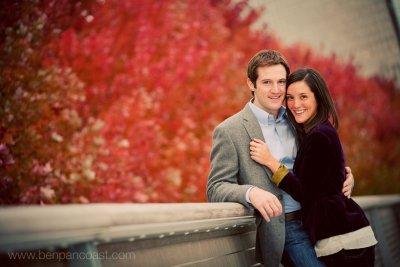 Art institute, bridge, downtown Chicago, fall color, engagement portrait