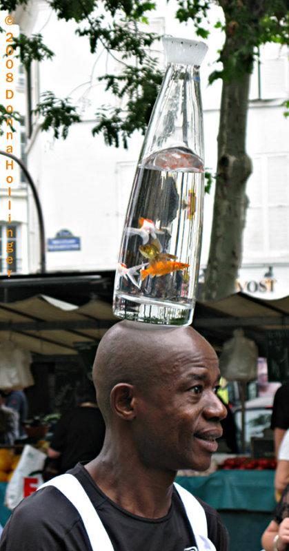 Market Entertainer with Goldfish